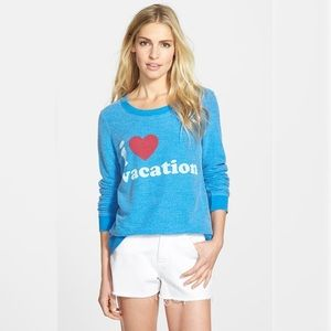Chaser I Love Vacation Graphic Sweatshirt Blue Size Small NWT Revolve